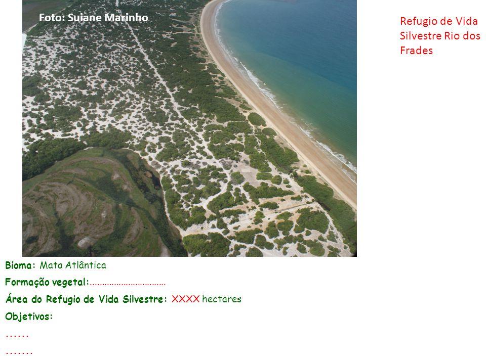 Bioma: Mata Atlântica Formação vegetal:................................ Área do Refugio de Vida Silvestre: XXXX hectares Objetivos:............. Foto: