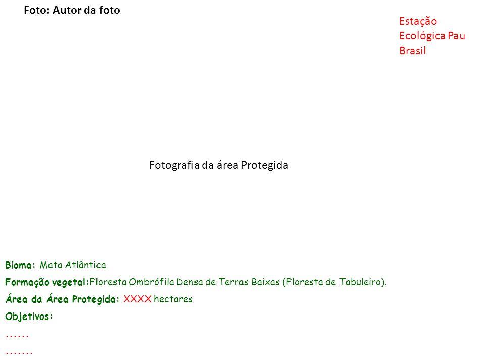 Bioma: Mata Atlântica Formação vegetal:Floresta Ombrófila Densa de Terras Baixas (Floresta de Tabuleiro). Área da Área Protegida: XXXX hectares Objeti