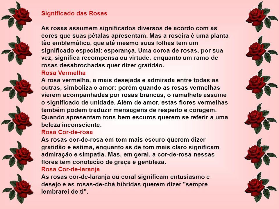 Significado das Rosas As rosas assumem significados diversos de acordo com as cores que suas pétalas apresentam.