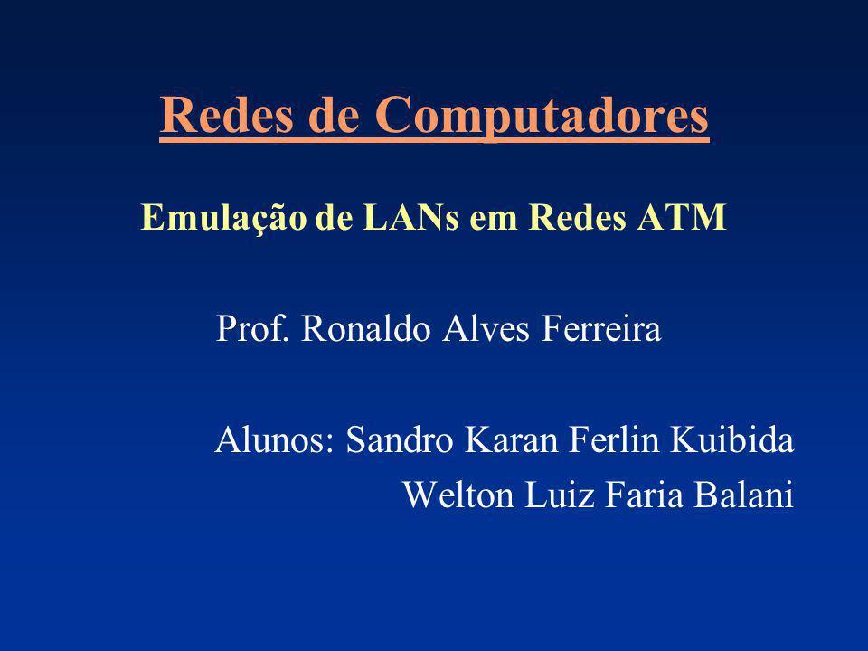 Redes de Computadores Emulação de LANs em Redes ATM Prof. Ronaldo Alves Ferreira Alunos: Sandro Karan Ferlin Kuibida Welton Luiz Faria Balani