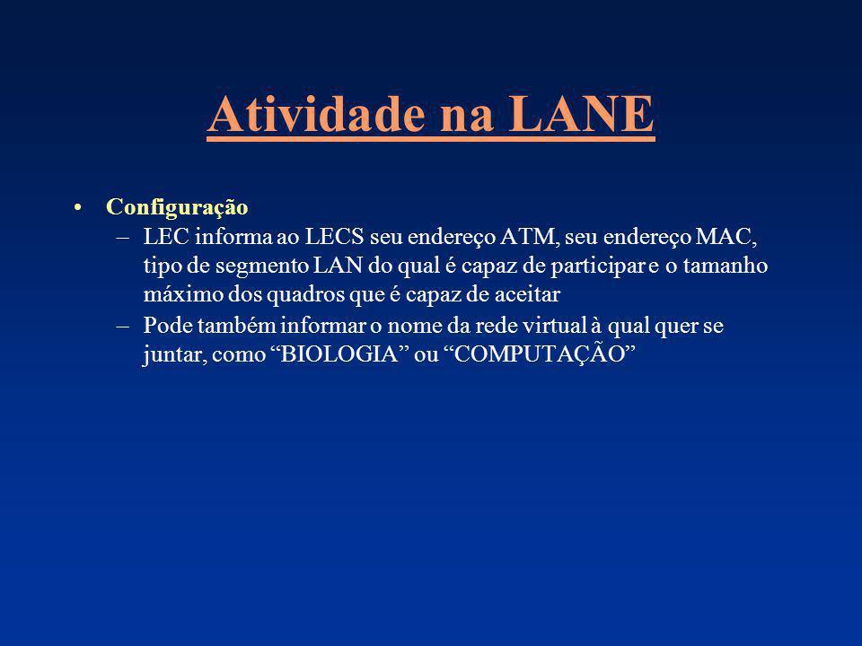 Atividade na LANE Configuração –LEC informa ao LECS seu endereço ATM, seu endereço MAC, tipo de segmento LAN do qual é capaz de participar e o tamanho