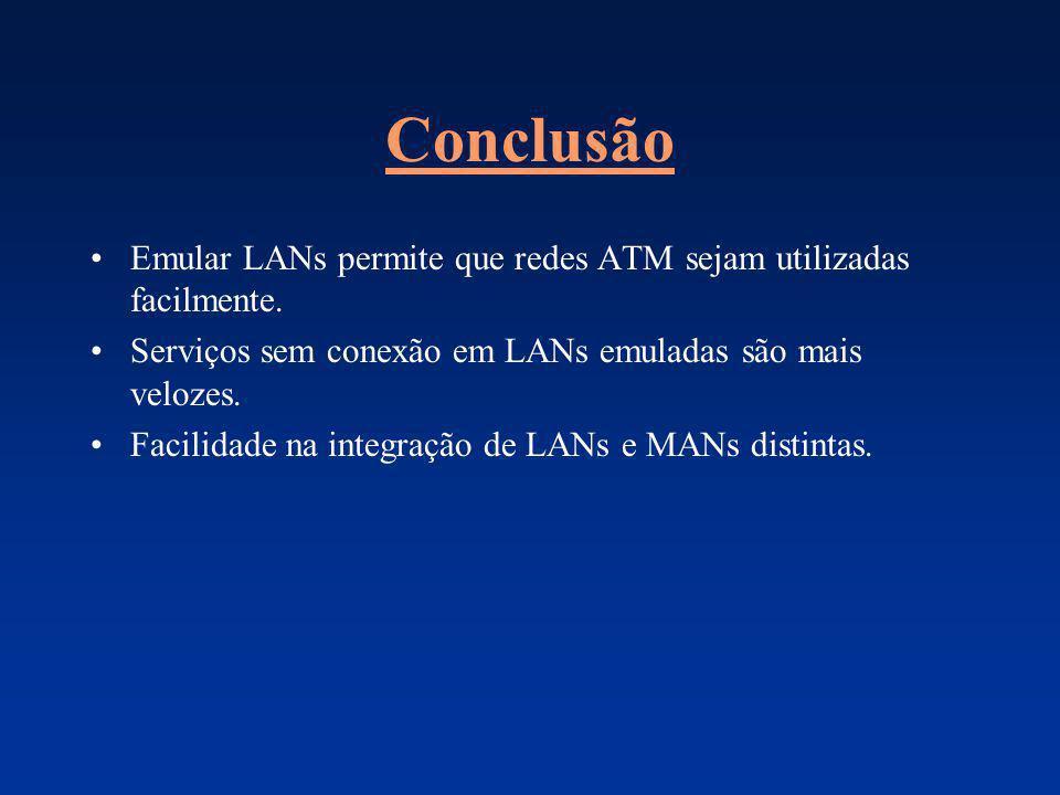 Conclusão Emular LANs permite que redes ATM sejam utilizadas facilmente. Serviços sem conexão em LANs emuladas são mais velozes. Facilidade na integra