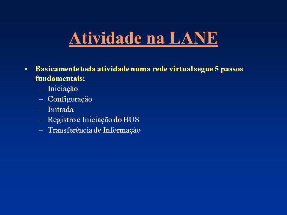Atividade na LANE Basicamente toda atividade numa rede virtual segue 5 passos fundamentais: –Iniciação –Configuração –Entrada –Registro e Iniciação do