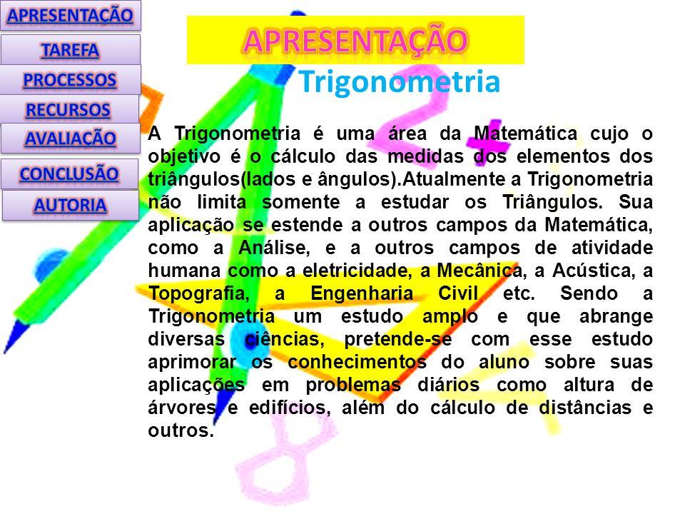Trigonometria A Trigonometria é uma área da Matemática cujo o objetivo é o cálculo das medidas dos elementos dos triângulos(lados e ângulos).Atualmente a Trigonometria não limita somente a estudar os Triângulos.