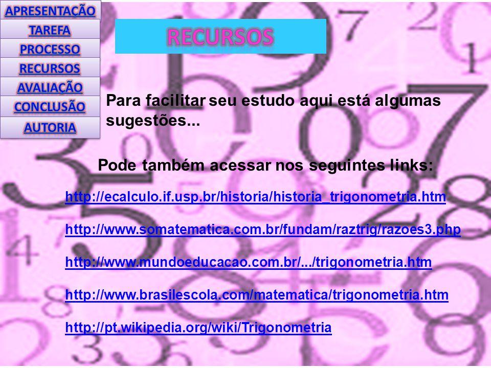 Pode também acessar nos seguintes links: http://ecalculo.if.usp.br/historia/historia_trigonometria.htm http://www.somatematica.com.br/fundam/raztrig/razoes3.php http://www.mundoeducacao.com.br/.../trigonometria.htm http://www.brasilescola.com/matematica/trigonometria.htm http://pt.wikipedia.org/wiki/Trigonometria Para facilitar seu estudo aqui está algumas sugestões...