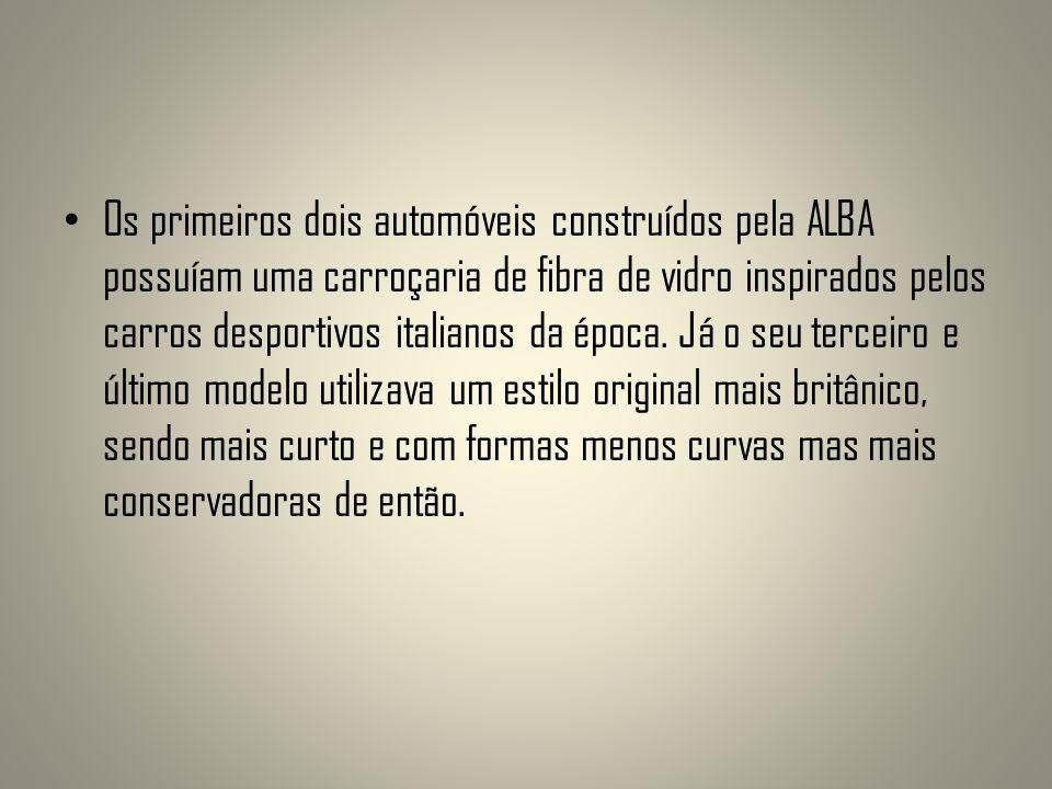 Os primeiros dois automóveis construídos pela ALBA possuíam uma carroçaria de fibra de vidro inspirados pelos carros desportivos italianos da época. J