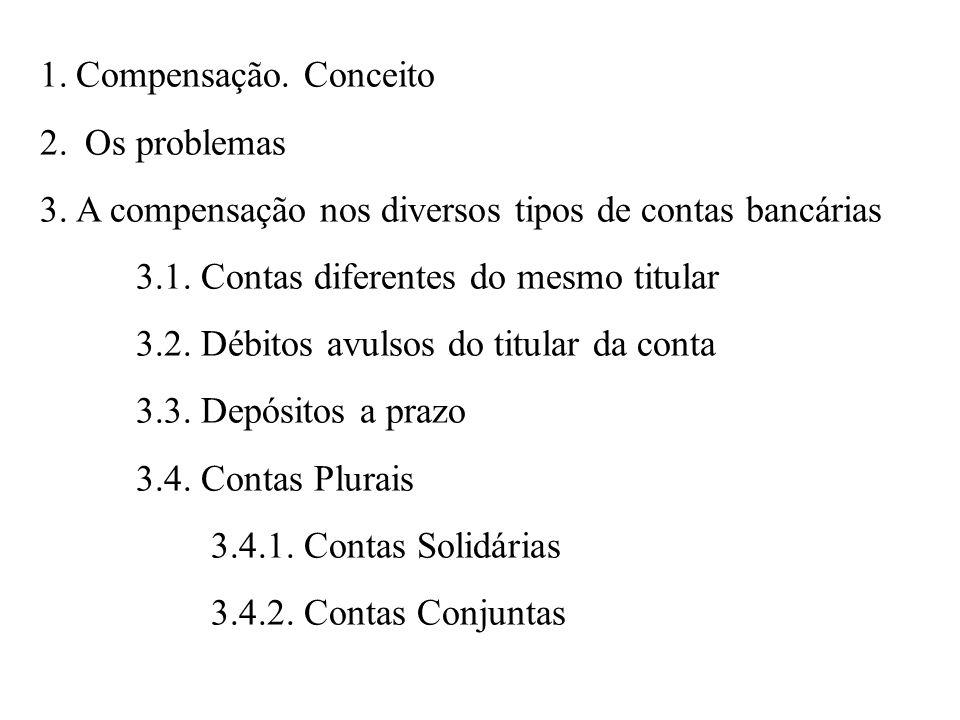 1.Compensação.Conceito 2. Os problemas 3.A compensação nos diversos tipos de contas bancárias 3.1.