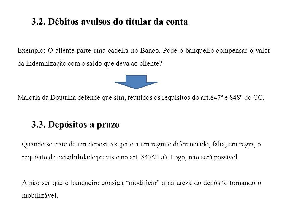 3.2.Débitos avulsos do titular da conta Exemplo: O cliente parte uma cadeira no Banco.