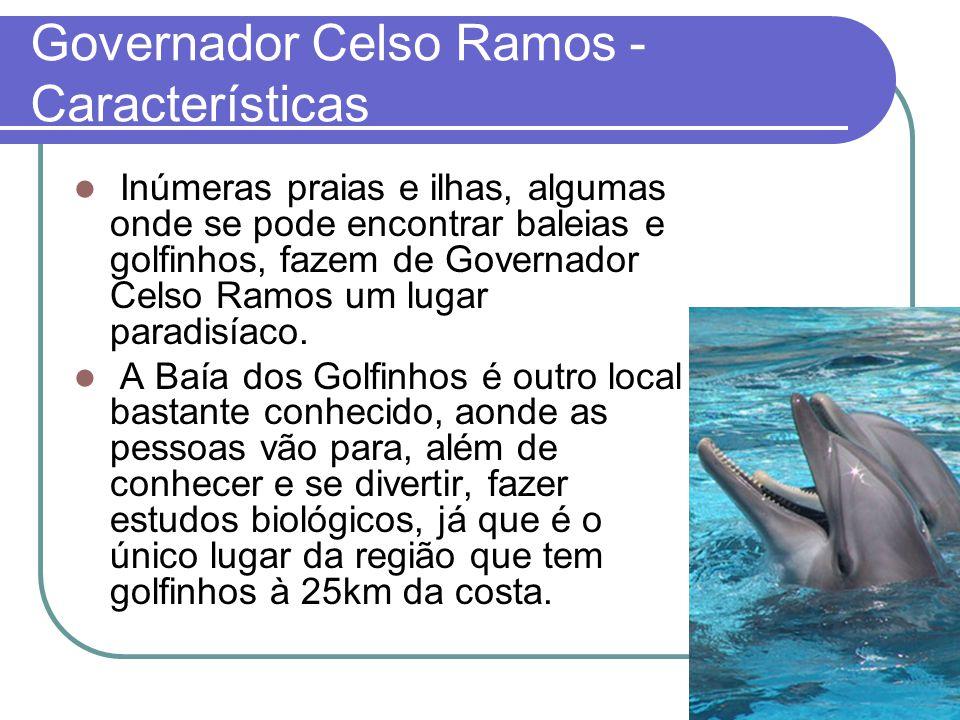 Governador Celso Ramos - Características Inúmeras praias e ilhas, algumas onde se pode encontrar baleias e golfinhos, fazem de Governador Celso Ramos um lugar paradisíaco.
