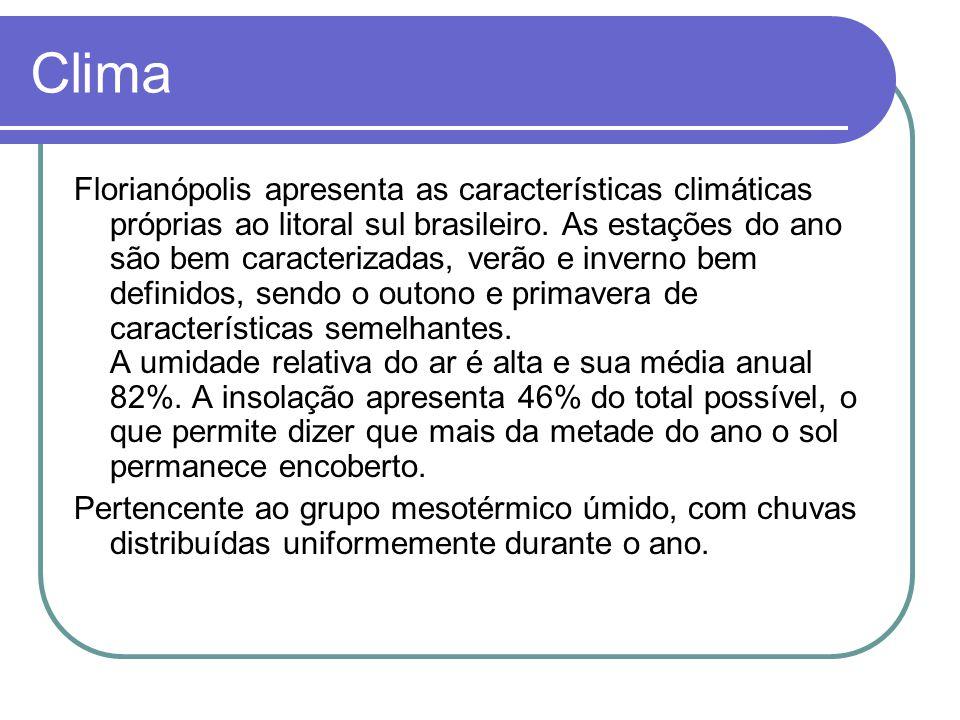 Clima Florianópolis apresenta as características climáticas próprias ao litoral sul brasileiro.