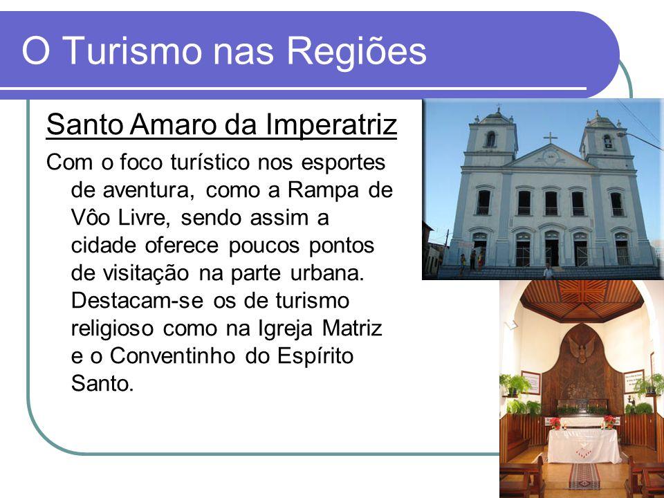 O Turismo nas Regiões Santo Amaro da Imperatriz Com o foco turístico nos esportes de aventura, como a Rampa de Vôo Livre, sendo assim a cidade oferece poucos pontos de visitação na parte urbana.