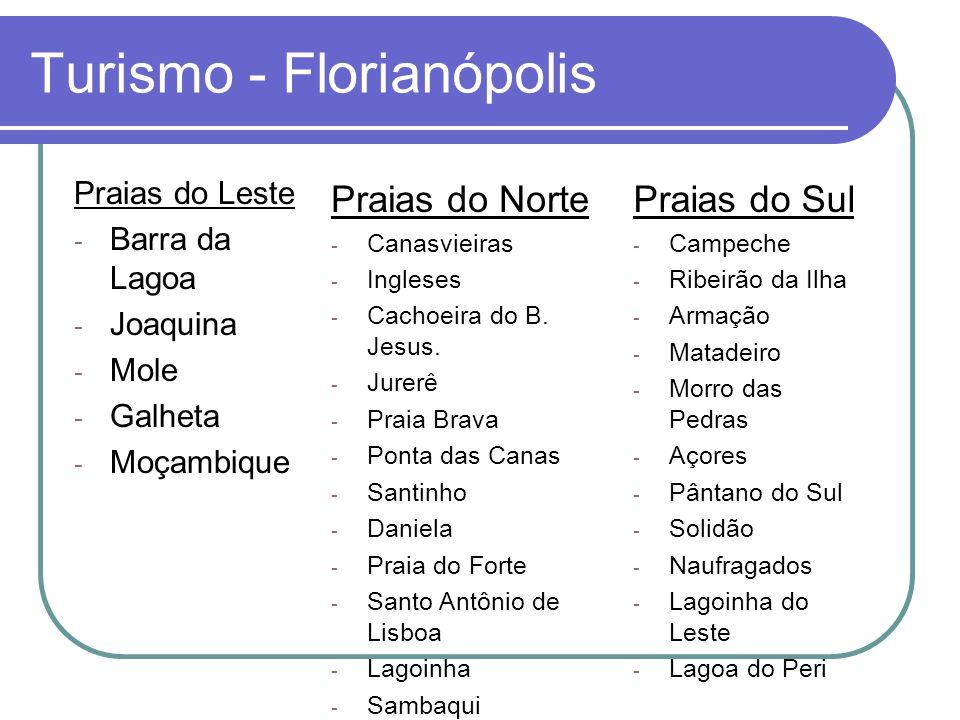 Turismo - Florianópolis Praias do Leste - Barra da Lagoa - Joaquina - Mole - Galheta - Moçambique Praias do Norte - Canasvieiras - Ingleses - Cachoeira do B.