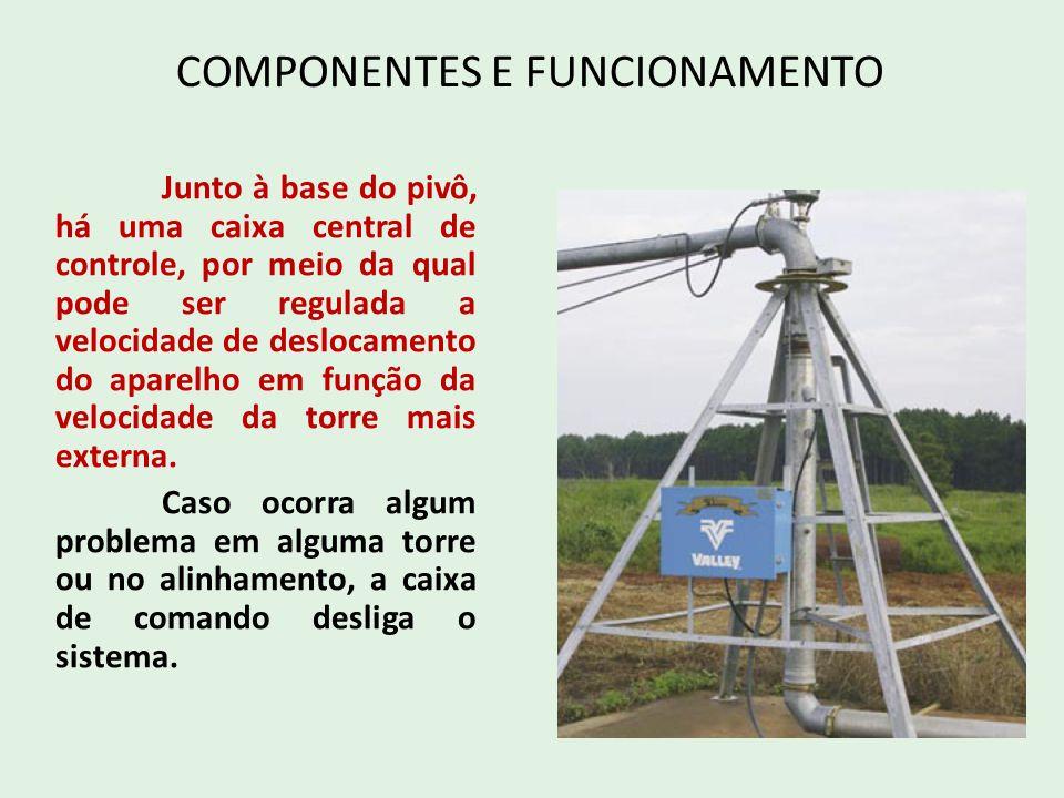 COMPONENTES E FUNCIONAMENTO Junto à base do pivô, há uma caixa central de controle, por meio da qual pode ser regulada a velocidade de deslocamento do