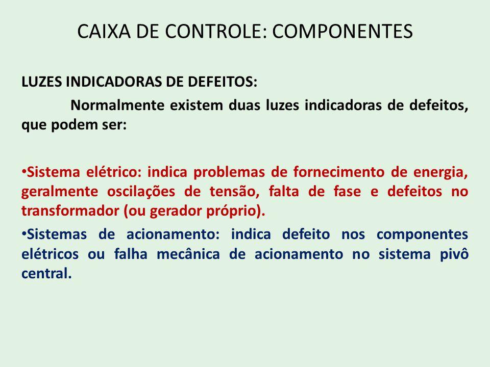 CAIXA DE CONTROLE: COMPONENTES LUZES INDICADORAS DE DEFEITOS: Normalmente existem duas luzes indicadoras de defeitos, que podem ser: Sistema elétrico: