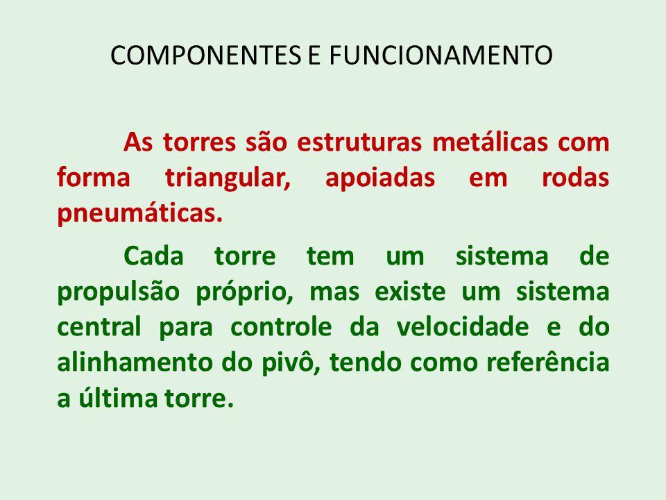COMPONENTES E FUNCIONAMENTO As torres são estruturas metálicas com forma triangular, apoiadas em rodas pneumáticas. Cada torre tem um sistema de propu