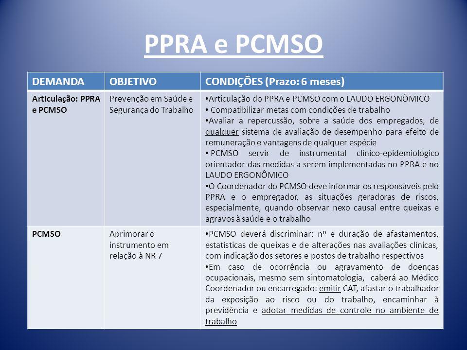 PPRA e PCMSO DEMANDAOBJETIVOCONDIÇÕES (Prazo: 6 meses) Articulação: PPRA e PCMSO Prevenção em Saúde e Segurança do Trabalho Articulação do PPRA e PCMS