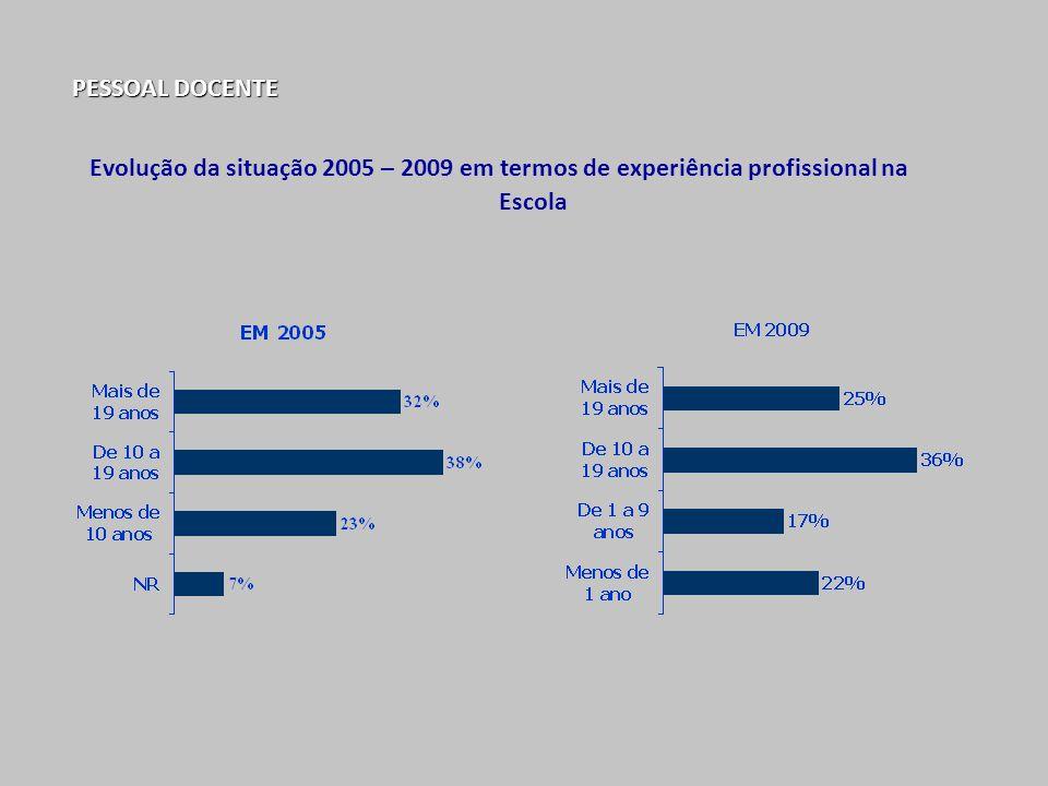 Evolução da situação 2005 – 2009 em termos de experiência profissional na Escola