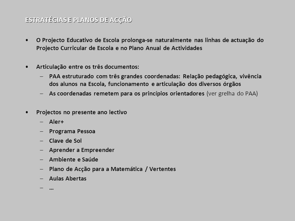 ESTRATÉGIAS E PLANOS DE ACÇÃO O Projecto Educativo de Escola prolonga-se naturalmente nas linhas de actuação do Projecto Curricular de Escola e no Pla