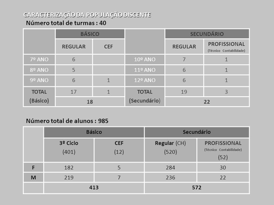 CARACTERIZAÇÃO DA POPULAÇÃO DISCENTE BÁSICOSECUNDÁRIO REGULARCEFREGULAR PROFISSIONAL (Técnico Contabilidade) 7º ANO610º ANO71 8º ANO511º ANO61 9º ANO6