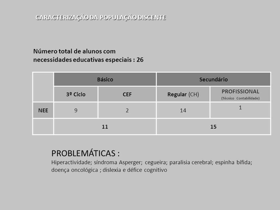 CARACTERIZAÇÃO DA POPULAÇÃO DISCENTE BásicoSecundário 3º CicloCEFRegular (CH) PROFISSIONAL (Técnico Contabilidade) NEE9214 1 1115 Número total de alun
