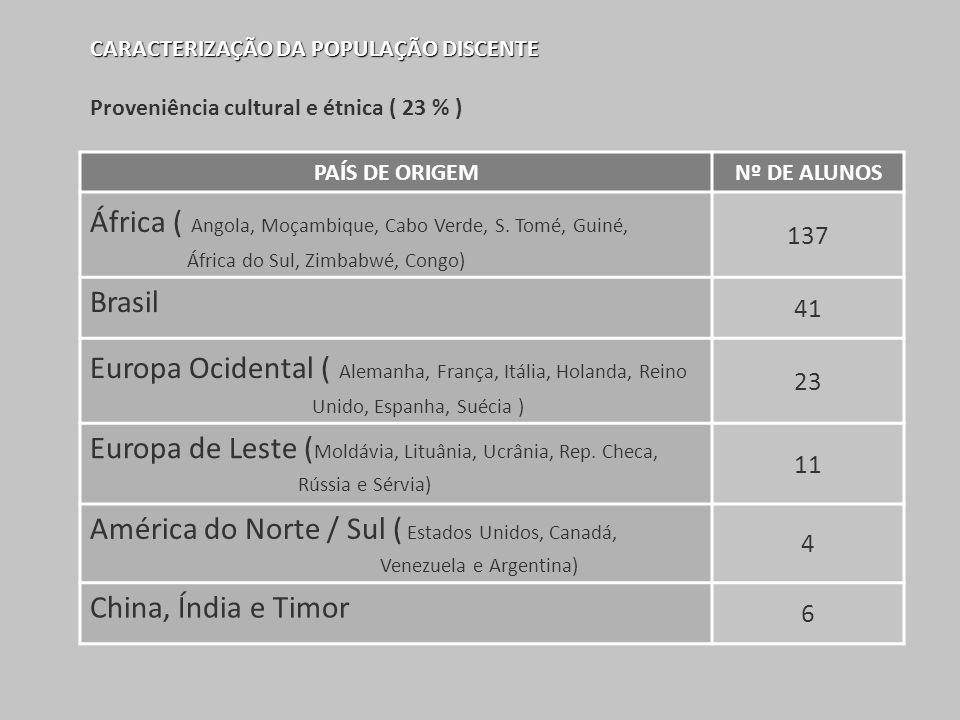 CARACTERIZAÇÃO DA POPULAÇÃO DISCENTE Proveniência cultural e étnica ( 23 % ) PAÍS DE ORIGEMNº DE ALUNOS África ( Angola, Moçambique, Cabo Verde, S. To