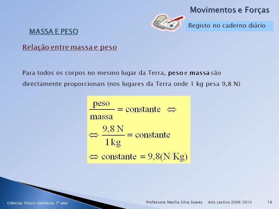 Ano Lectivo 2009/2010Professora Marília Silva Soares19 Movimentos e Forças Ciências Físico-Químicas 7º ano MASSA E PESO Para todos os corpos no mesmo