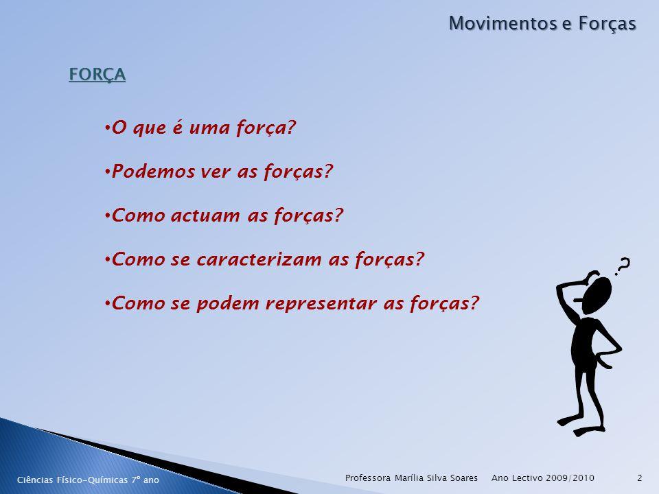 Ano Lectivo 2009/2010Professora Marília Silva Soares2 Movimentos e Forças FORÇA O que é uma força? Podemos ver as forças? Como actuam as forças? Como