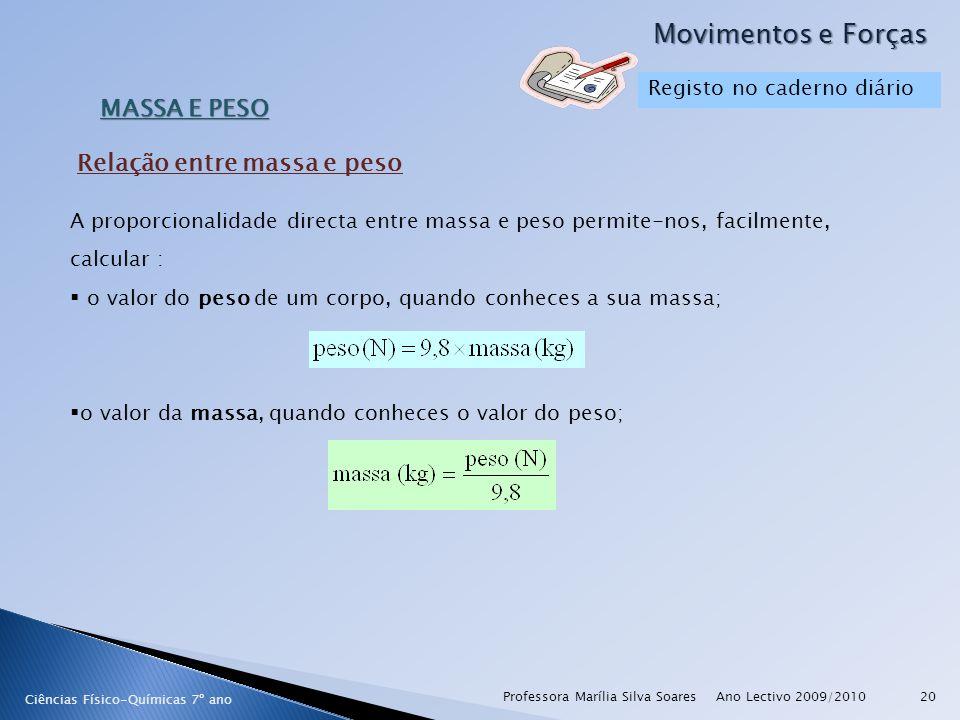 Ano Lectivo 2009/2010Professora Marília Silva Soares20 Movimentos e Forças Ciências Físico-Químicas 7º ano MASSA E PESO A proporcionalidade directa en