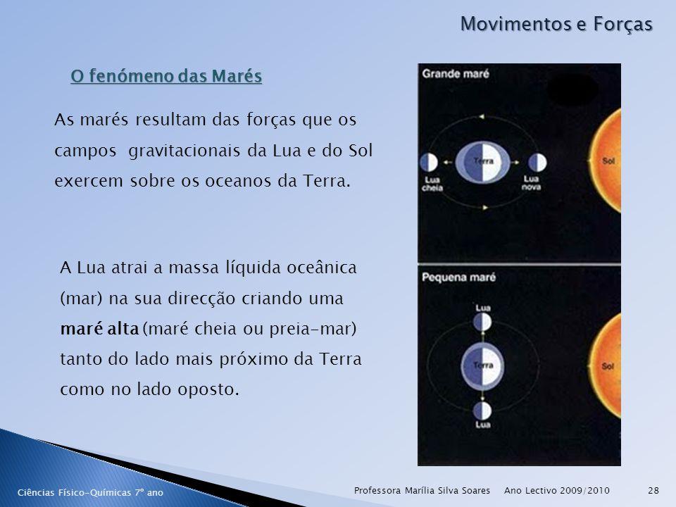 Ano Lectivo 2009/2010Professora Marília Silva Soares28 Movimentos e Forças Ciências Físico-Químicas 7º ano O fenómeno das Marés As marés resultam das