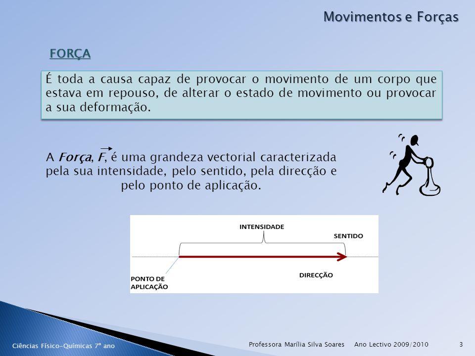 Ano Lectivo 2009/2010Professora Marília Silva Soares3 Movimentos e Forças FORÇA É toda a causa capaz de provocar o movimento de um corpo que estava em