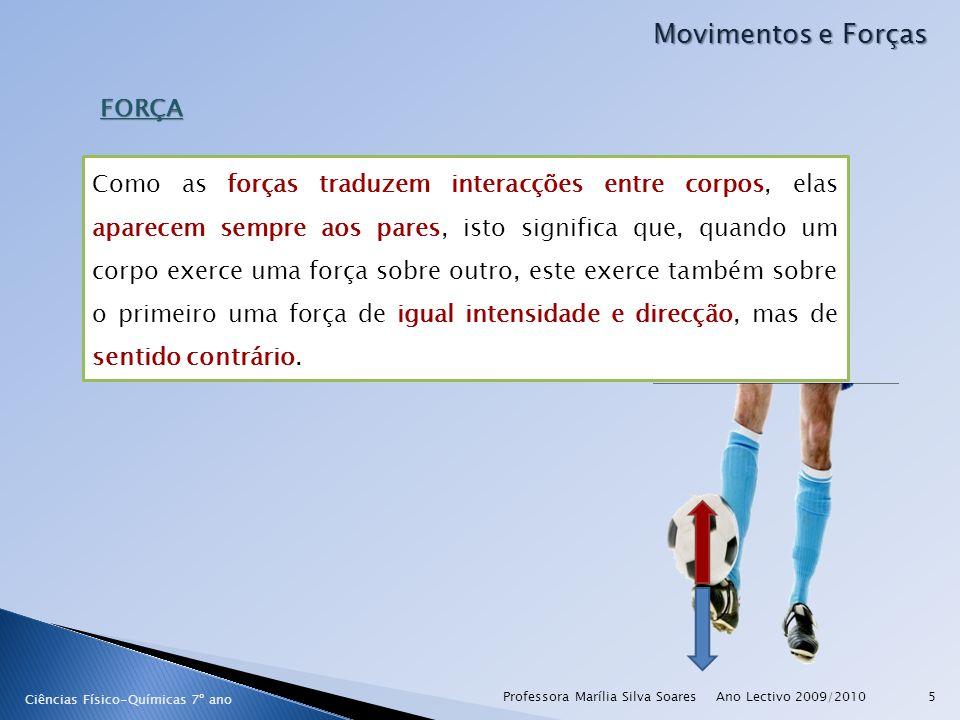 Ano Lectivo 2009/2010Professora Marília Silva Soares5 Movimentos e Forças FORÇA Ciências Físico-Químicas 7º ano Como as forças traduzem interacções en