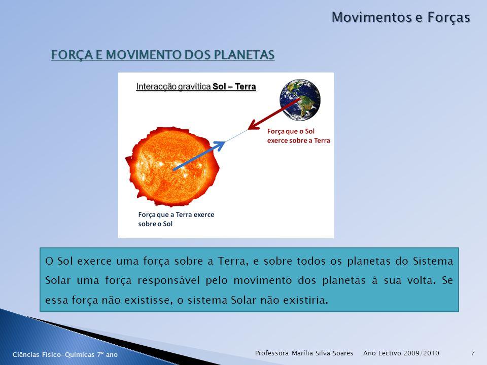 Ano Lectivo 2009/2010Professora Marília Silva Soares28 Movimentos e Forças Ciências Físico-Químicas 7º ano O fenómeno das Marés As marés resultam das forças que os campos gravitacionais da Lua e do Sol exercem sobre os oceanos da Terra.