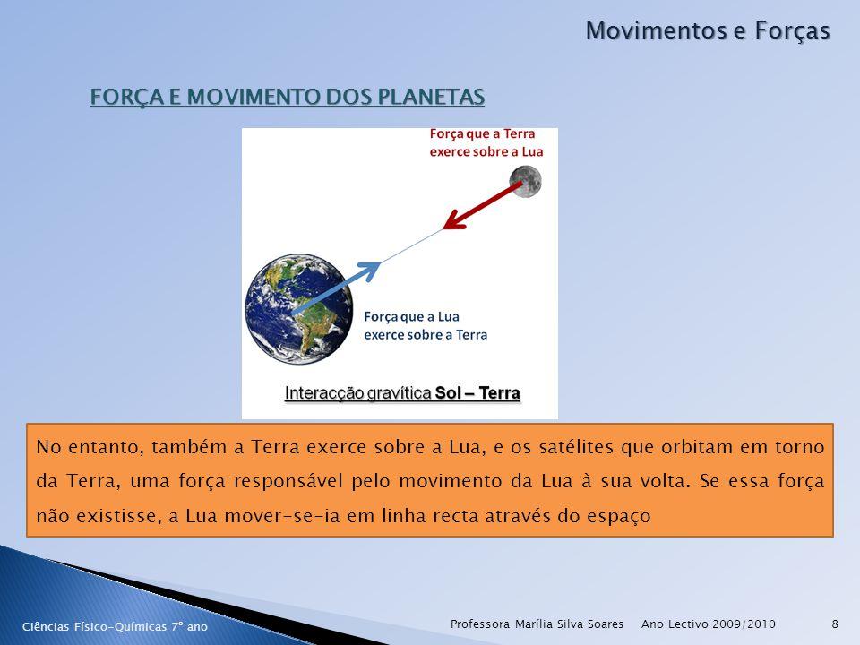 Ano Lectivo 2009/2010Professora Marília Silva Soares9 Movimentos e Forças Ciências Físico-Químicas 7º ano FORÇA E MOVIMENTO DOS PLANETAS A Lua não cai para a Terra, a Terra não cai para ao Sol e o Sol não cai para o centro da galáxia porque todos têm movimentos com velocidade adequadas que lhes permitem estar em órbita Um satélite artificial pode vários tipos de órbitas, conforme a função a que se destinam; as órbitas são mantidas porque o satélite é lançado com a velocidade adequada face à força gravítica a que está sujeito.