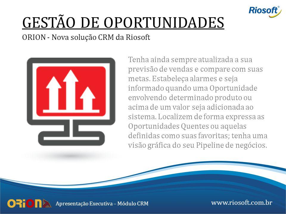 www.riosoft.com.br Apresentação Executiva – Módulo CRM GESTÃO DE OPORTUNIDADES ORION - Nova solução CRM da Riosoft Tenha ainda sempre atualizada a sua