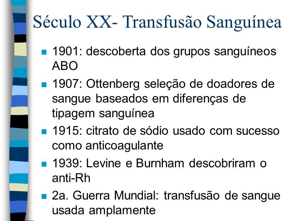 Século XX- Transfusão Sanguínea n 1901: descoberta dos grupos sanguíneos ABO n 1907: Ottenberg seleção de doadores de sangue baseados em diferenças de tipagem sanguínea n 1915: citrato de sódio usado com sucesso como anticoagulante n 1939: Levine e Burnham descobriram o anti-Rh n 2a.