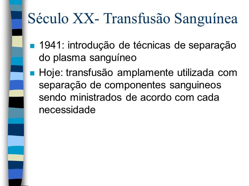 n 1941: introdução de técnicas de separação do plasma sanguíneo n Hoje: transfusão amplamente utilizada com separação de componentes sanguineos sendo ministrados de acordo com cada necessidade Século XX- Transfusão Sanguínea