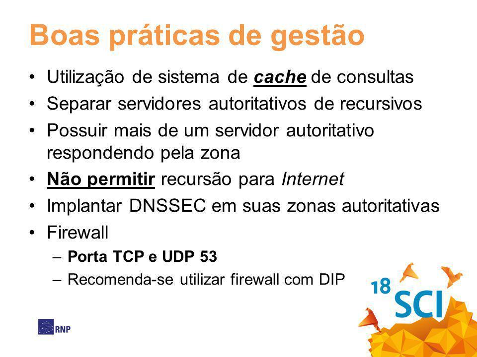 Boas práticas de gestão Utilização de sistema de cache de consultas Separar servidores autoritativos de recursivos Possuir mais de um servidor autorit