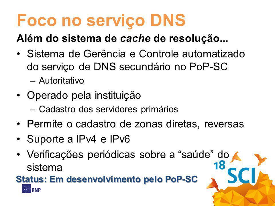 Foco no serviço DNS Além do sistema de cache de resolução... Sistema de Gerência e Controle automatizado do serviço de DNS secundário no PoP-SC –Autor