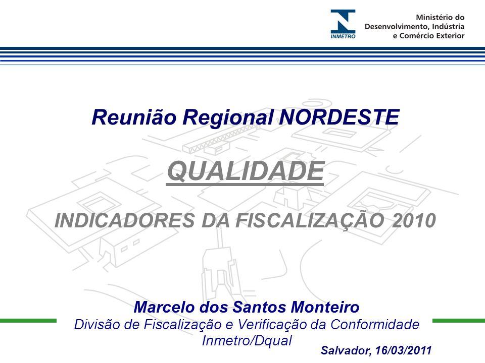 Marcelo dos Santos Monteiro Divisão de Fiscalização e Verificação da Conformidade Inmetro/Dqual Reunião Regional NORDESTE QUALIDADE INDICADORES DA FISCALIZAÇÃO 2010 Salvador, 16/03/2011
