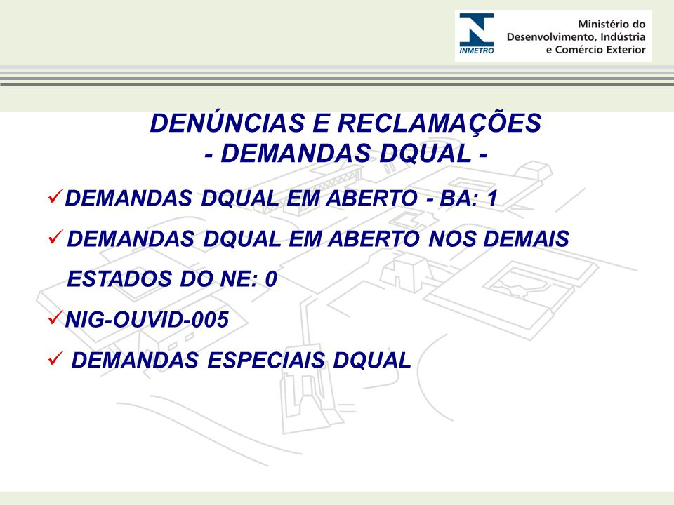 DENÚNCIAS E RECLAMAÇÕES - DEMANDAS DQUAL - DEMANDAS DQUAL EM ABERTO - BA: 1 DEMANDAS DQUAL EM ABERTO NOS DEMAIS ESTADOS DO NE: 0 NIG-OUVID-005 DEMANDAS ESPECIAIS DQUAL