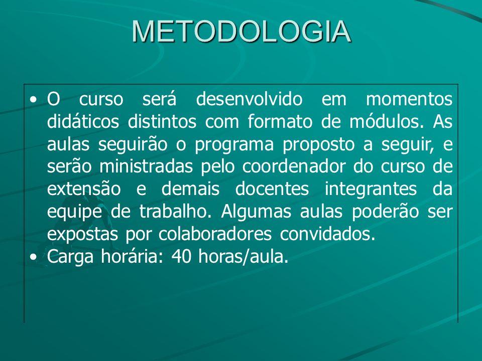 METODOLOGIA O curso será desenvolvido em momentos didáticos distintos com formato de módulos.