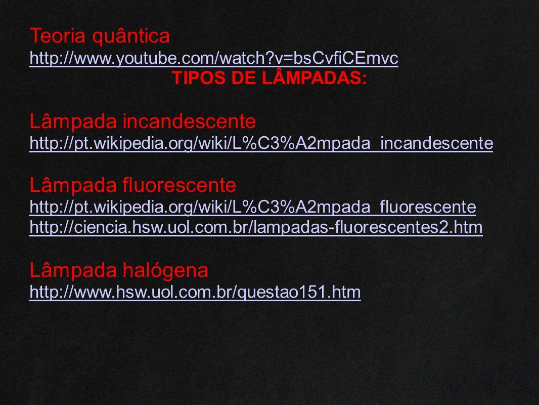 Teoria quântica http://www.youtube.com/watch?v=bsCvfiCEmvc TIPOS DE LÂMPADAS: Lâmpada incandescente http://pt.wikipedia.org/wiki/L%C3%A2mpada_incandes