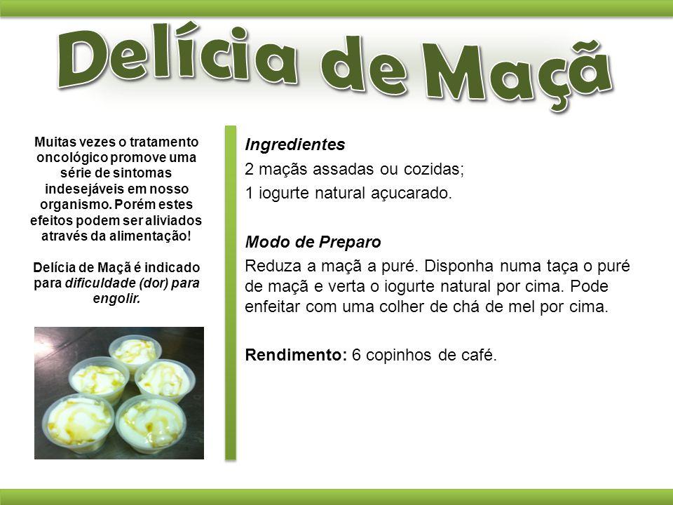Ingredientes 2 maçãs assadas ou cozidas; 1 iogurte natural açucarado. Modo de Preparo Reduza a maçã a puré. Disponha numa taça o puré de maçã e verta