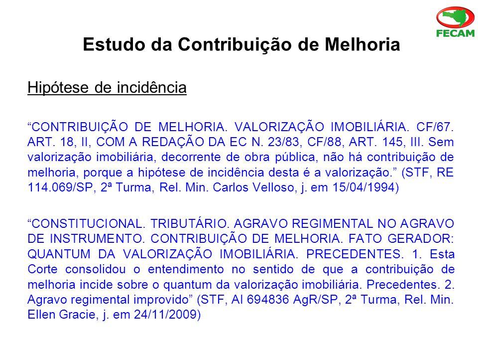 Estudo da Contribuição de Melhoria Hipótese de incidência CONTRIBUIÇÃO DE MELHORIA.