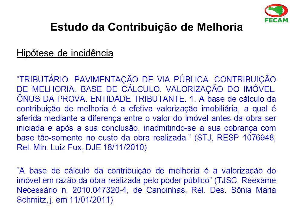 Estudo da Contribuição de Melhoria Hipótese de incidência TRIBUTÁRIO.