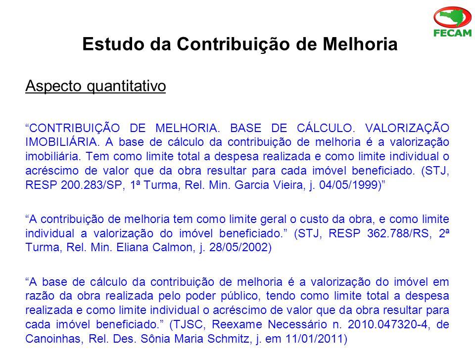 Estudo da Contribuição de Melhoria Aspecto quantitativo CONTRIBUIÇÃO DE MELHORIA.