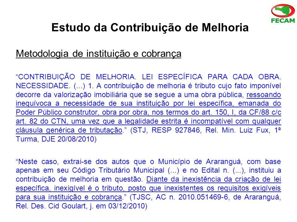 Estudo da Contribuição de Melhoria Metodologia de instituição e cobrança CONTRIBUIÇÃO DE MELHORIA.
