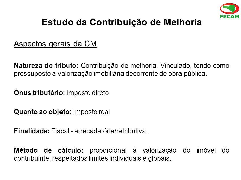 Estudo da Contribuição de Melhoria Aspectos gerais da CM Natureza do tributo: Contribuição de melhoria.