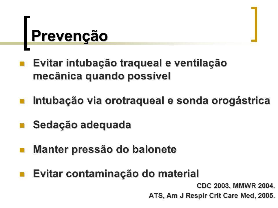 Prevenção Evitar intubação traqueal e ventilação mecânica quando possível Evitar intubação traqueal e ventilação mecânica quando possível Intubação vi