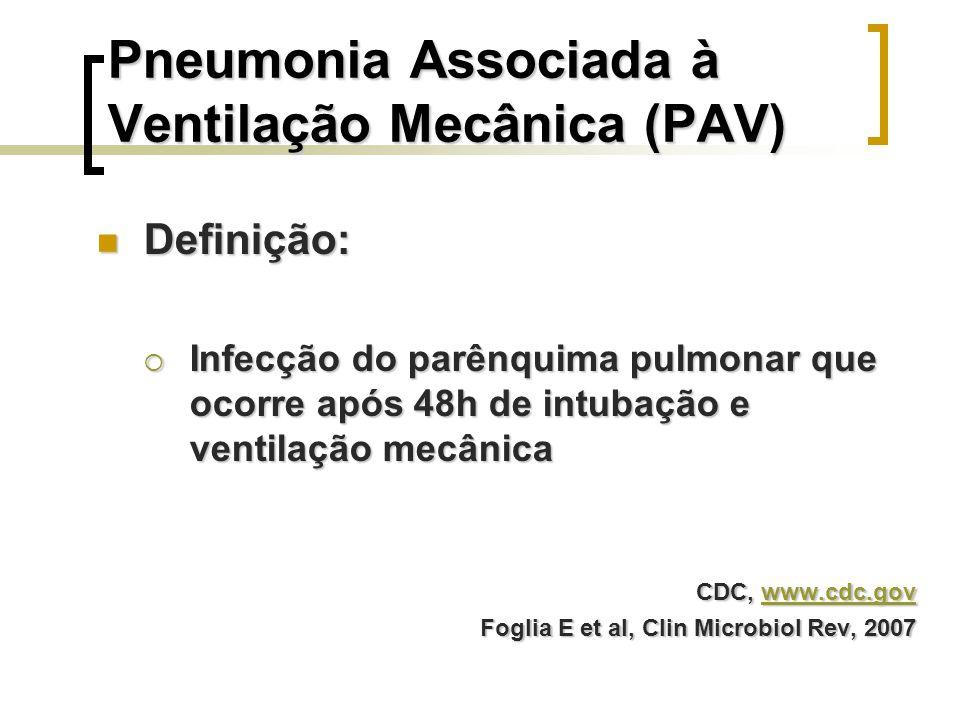 Pneumonia Associada à Ventilação Mecânica (PAV) Definição: Definição: Infecção do parênquima pulmonar que ocorre após 48h de intubação e ventilação me